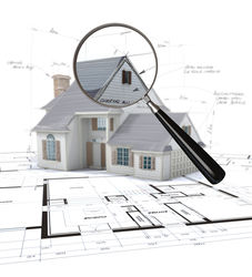 stock-photo--d-rendering-of-an-architecture-model-scrutinized-by-a-magnifying-glass-54972418